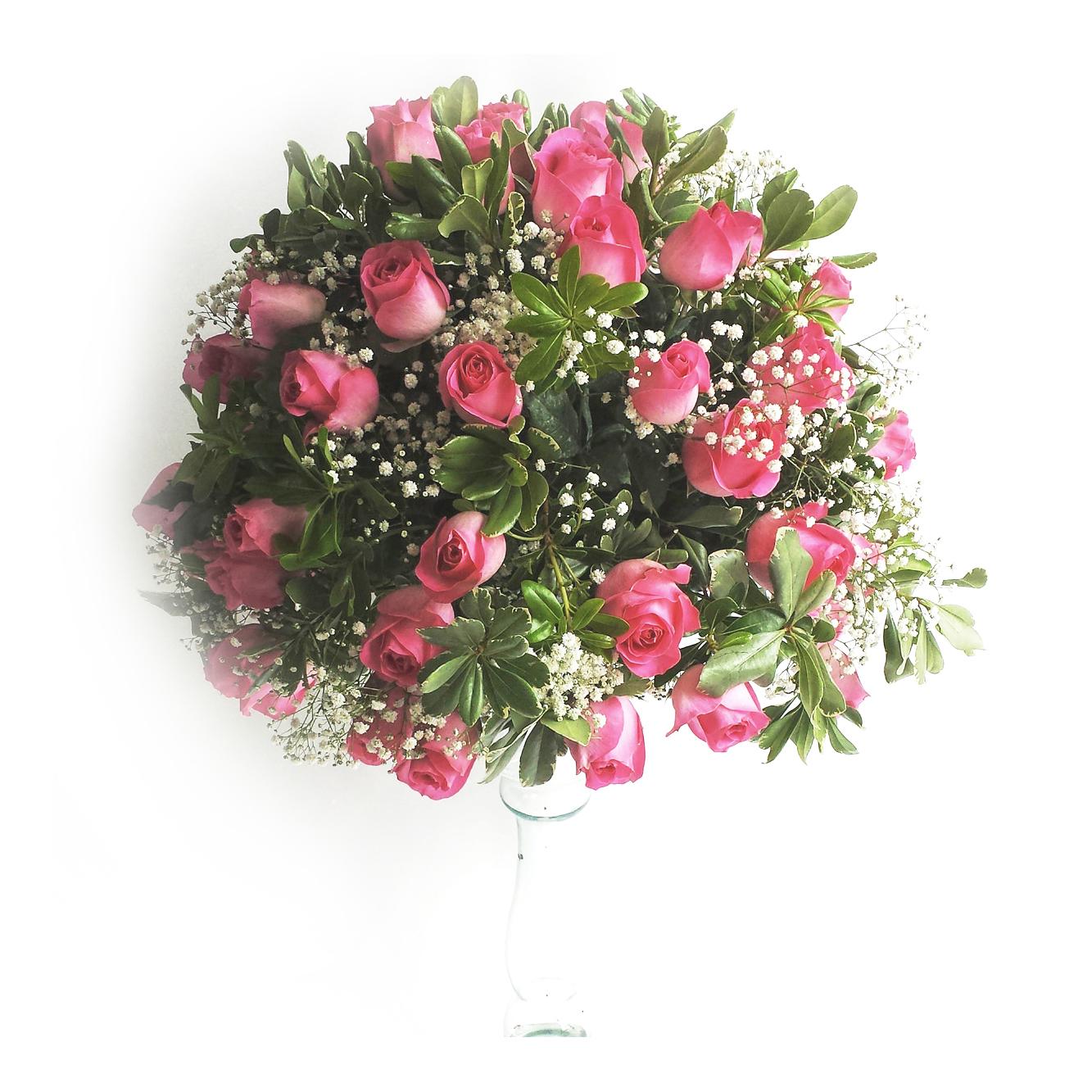 Arranjo Bola com Rosas Rosa e Gypsophila Cod. D-004